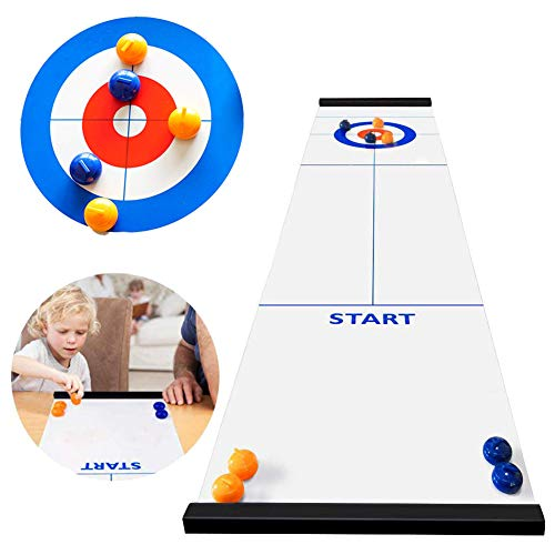 OZMI Tabletop Curling Game, Family Games for Kids and Adults, Mini Desktop Game with 8 Shuffleboard Pucks for Family, Outdoor, School, Office, Travel, Table and Curling Set
