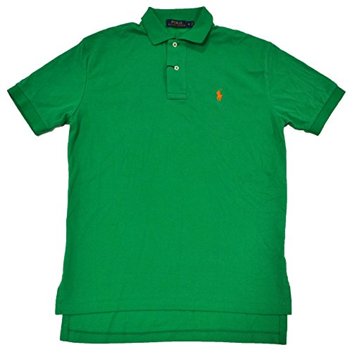 (Polo Ralph Lauren Mens Classic Mesh Polo Shirt (Stem Green Orange Pony,)