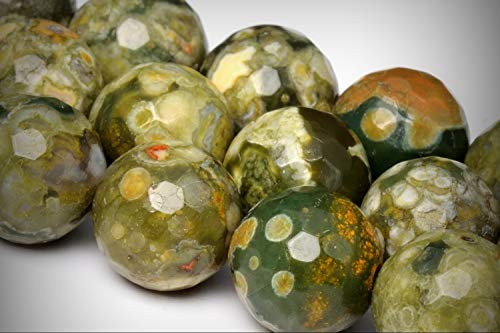 Approx.37 Beads Lot - 10mm Rainforest Rhyolite Color Grade AA Micro Faceted Round Loose Jewelry Making Beads 15