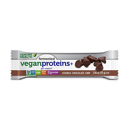 Genuine Health Fermented Vegan Proteins+ Bar, Double Chocolate Chip, High Protein Bar, Low Carb, Low Sugar, Vegan, Gluten Free, 12 Count