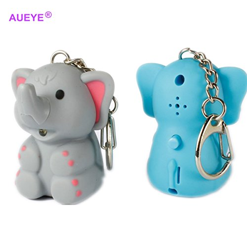 ODETOJOY 1PC ABS Elephant Keychain Flashlight with Sound Voice Children LED Keyrings Blue Or Gray 3D Cartoon Animal Key Holder Rings (Random Color)