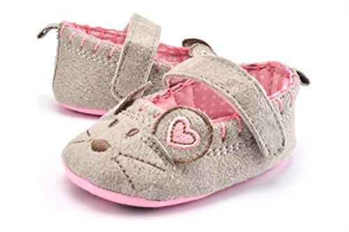 [VOULOIR Girls Spring and Autumn Cloth Soft Sole Cartoon Cat Pattern Shoes gray M] (Ninja Suits For Sale)