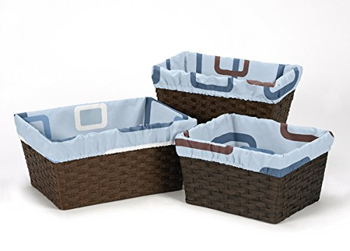 (Set of 3 One Size Fits Most Basket Liners for Blue and Brown Geo Collection Bedding Sets)