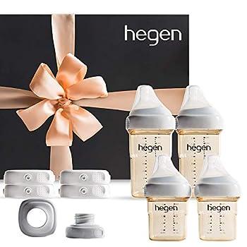 Image of Hegen Newborn Baby Bottles Complete Starter Kit- Anti Colic Baby Bottles Baby Gifts - Breast Milk Storage Lids, Secure Seal, Medium and Slow Teat, Standard Neck Adapter Baby
