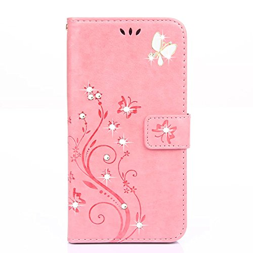 S8 Plus Case,HAOTP Beauty Luxury 3D Fashion Handmade Bling Crystal Rhinestone Butterfly Floral PU Flip Stand Credit Card ID Holders Wallet Leather Cas…