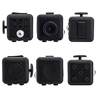 Fidget Cube for Fidgeters! Relieve Stress, Anxiety, and Boredom for Children and Adults (BLACK)