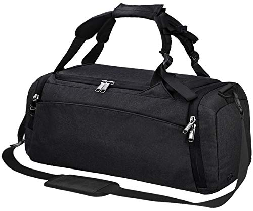 Cheap Gym Duffle Bag Waterproof Travel Weekender Bag for Men Women Duffel Bag Backpack with Shoes Compartment Overnight Bag 40L Black
