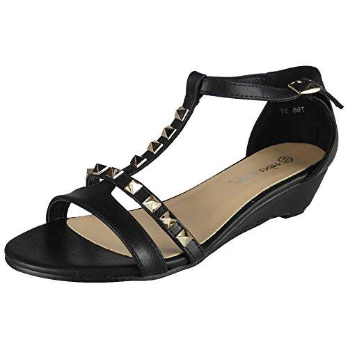 T Comodi Donna Da 8 3 Con Sandali Ladies Borchie Nero Gladiatore Zeppa Taglia bar xwCqYU4f