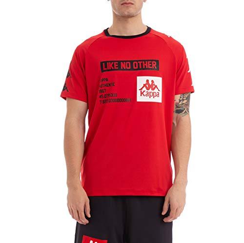 (Kappa Mens Authentic BASTIL Raglan T-Shirt Jersey 304IBC0-957 RED-Black 2XL)