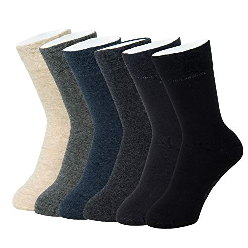 - Feetalk Men's 6 Pack Classic 98% Cotton Lightweight Casual Solid Dress Crew Socks for Business(L: men's shoe size 9-12)
