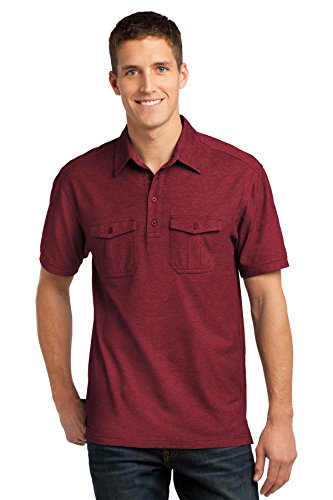 Port Authority Men's Oxford Pique Double Pocket Polo XL Red/ - Dyed Mulberry