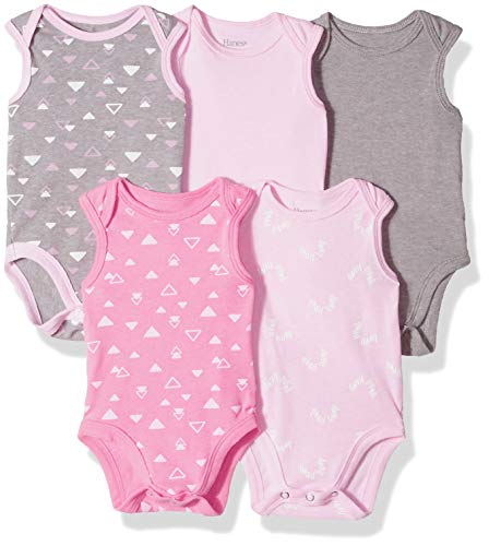- Hanes Ultimate Baby Flexy 5 Pack Sleeveless Bodysuits (Tanks), Pink/Grey Shapes, 0-6 Months