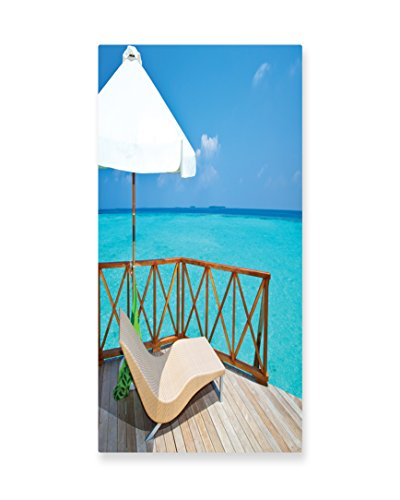 Lunarable Coastal Wall Art, Parasol and Chaise Lounges and Deckchair on Terrace of Water Villa Maldives, Gloss Aluminium Modern Metal Artwork for Wall Decor, 11.6 W X 23.5 L Inches, (Original White Outdoor Chaise Lounge)