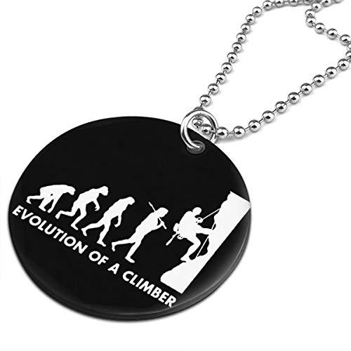 Ruizits Rock climbing evolution Men Women Round Ornaments Necklace Printing black Pendant Necklaces -