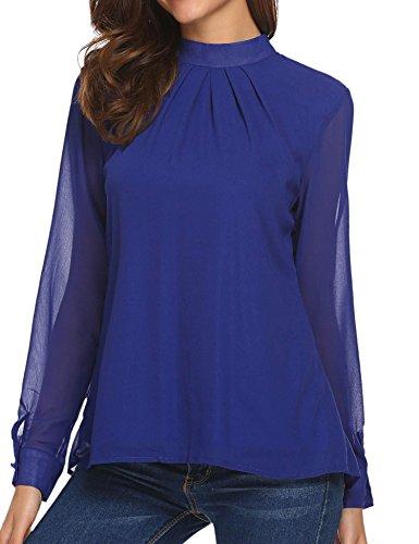 (UNibelle Women's Loose Chiffon Tops Blouse Casual Long Sleeve Pleated T-shirt, Royal Blue, X-Large)