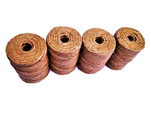 AAYU Jute Burlap Twine Spool | 4 Value Pack | Heavy Duty (4 Ply, 1360 Feet Total) | Eco-Friendly Natural Rope for DIY, Arts\Crafts, Gift Wrapping, Bundling, Garden Use, Packing String, Nautical Rope ()