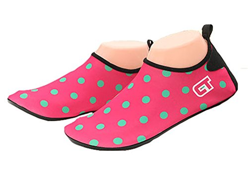 Fortuning's JDS Flexible Barefoot Polka dots Water Skin Shoes for Beach Swim Snorkeling fins Diving Yoga exercise Red BKykT