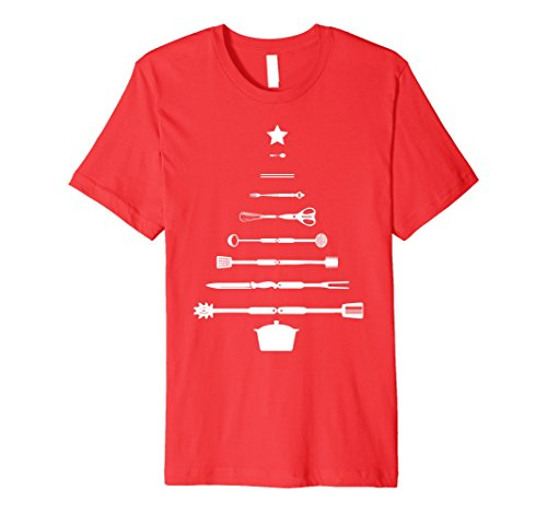Mens Christmas Tree Chef Utensils Holiday Cooking T-Shirt Medium Red
