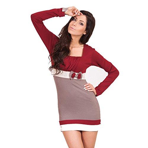 Fancy That Clothing - Vestido - Túnica - Manga Larga - para mujer Beige Orange Brick
