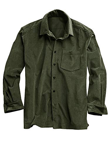 (Mens Corduroy Shirt Button Down Long Sleeve Ribbed Fall Tops Slim Fit Casual Warm Shirts)