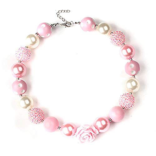 Bouren Pink Rose Chunky Bubblegum Bead Necklace for Girls ()