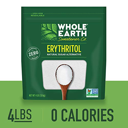 WHOLE EARTH SWEETENER 100% Erythritol Sweetener, 4 Pound Pouch, Natural Sugar Alternative, Baking Sugar Substitute, Zero Calorie Sweetener, Gluten Free, Non-GMO, Keto Sweetener