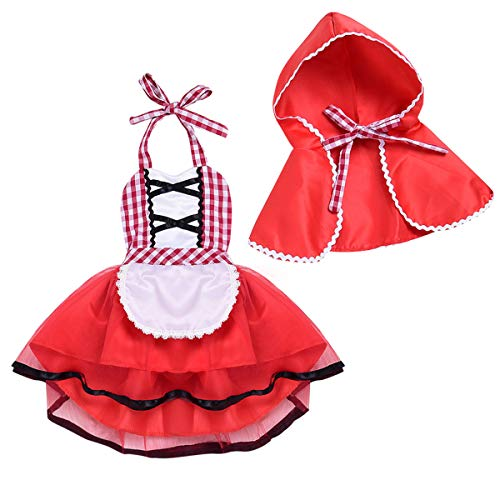 MYRISAM Baby Girls Deluxe Little Red Riding Hood w/Cape Cloak Halloween Fancy Dress Up Costume Storybook Fairy Tale Outfits 2-3
