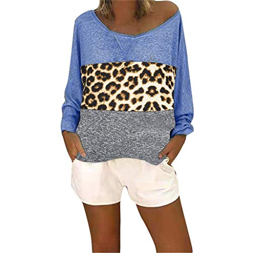 SUNyongsh Women Casual Shirt Leopard Print Long Sleeve Pullover V-Neck Patchwork Top Blouse Blue