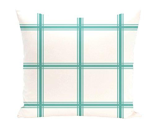 E by design PGN127GR1-26 Windowpane Plaid Geometric Print Pillow, Jade,Aqua by E by design