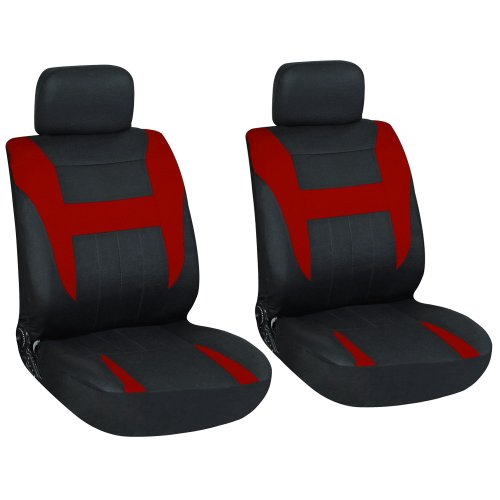 OxGord 21pc Black & Red Flat Cloth Seat Cover and Carpet Floor Mat Set for the Mazda MX-6 Coupe, Airbag Compatible, Split Bench, Steering Wheel Cover Included