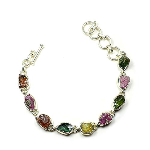 - Jewelryonclick Natural Multi Gemstone Sterling Silver Bracelet for Women Toggle Clasp Length 7.9 Inches