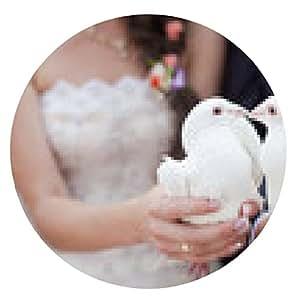 alfombrilla de ratón Dos doves.Wedding blanco - ronda - 20cm