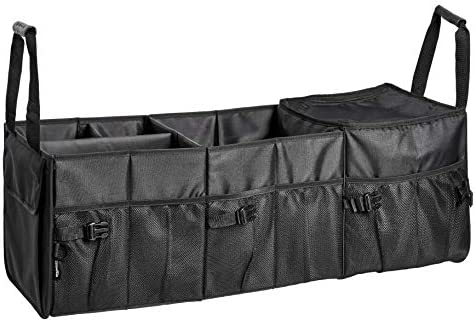Amazon Basics Car Trunk Organizer with Insulated Cooler Bag and Adjustable Compartment