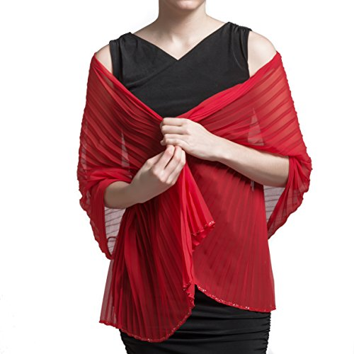 Free Spirit Luxurious Pleated Satin Shawl Wrap with Hand Beaded Hem in Red - 26 x 72