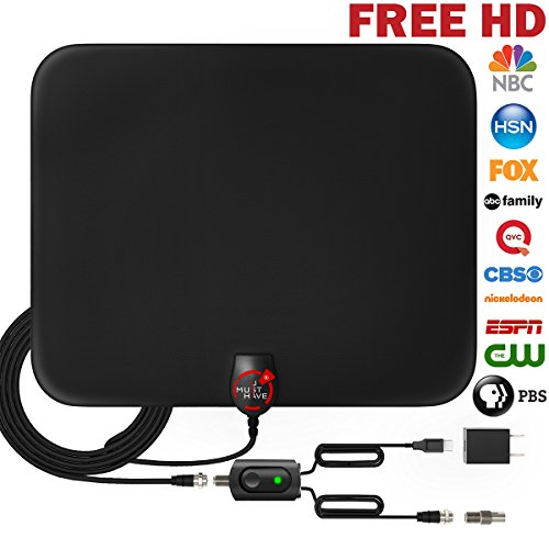 Amplified Hdtv Antenna Indoor (UPGRADED 2018 VERSION HD Digital TV Antenna Kit - Best 80 Miles Long Range High-Definition with HDTV Amplifier Signal Booster Indoor - Amplified 18ft Coax Cable - Support All TV's - 1080p 4K ready)
