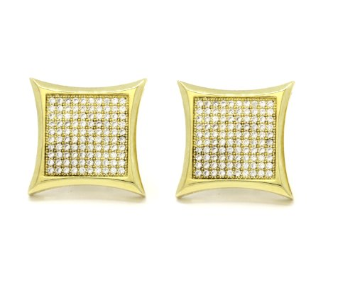 Mens 18mm Gold Plated Cz Micro Pave Iced Out Hip Hop Large Kite Stud Earrings Screw (Micro Pave Earrings)