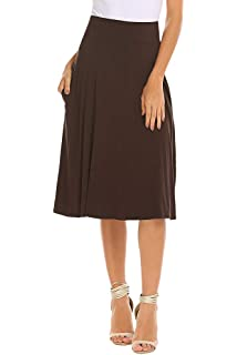 5127607831 Qearal Womens Basic Solid Stretch Elastic High Waist Flare Knee Length A Line  Skirts w