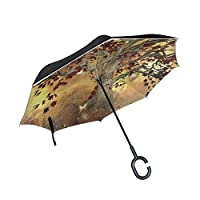Inverted Umbrella Fantasy Tree Butterfly Glitter Double Layer Reverse Umbrella for Car Windproof UV Protection Big Straight with C-Shaped Handle