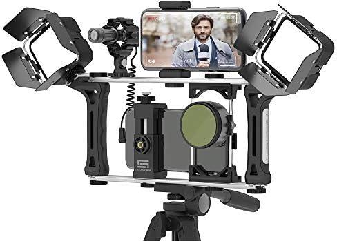DREAMGRIP Evolution 2 MOJO Universal Modular Video Rig for All Smartphones, DSLR, Action Cameras – Complete Journalist Kit w/52-37-17mm Optics Adapter/Hood/2Filters/Gun Microphone/2LED Lights,etc