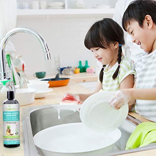 Castile Soap Organic Pina Colada by Sky Organics (8oz), Plant Based Liquid Soap and All Purpose Wash, Vegan & Cruelty-Free, Pineapple-Coconut Essential Oils Natural Body Wash Savon de Marseille