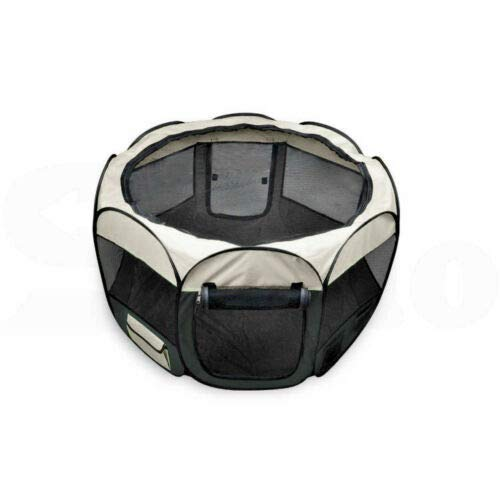 Grey XL Grey XL Pet Soft Playpen Dog Cat Puppy Play Large Round Crate Cage Tent Portable 2 Size (XL, Grey)