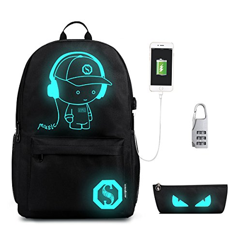 Luminous Anti Theft Laptop Backpack with USB Charging Port,Gracosy Fashion Daypack Shoulder Campus Rucksack Travel Bag College Student Bookbag