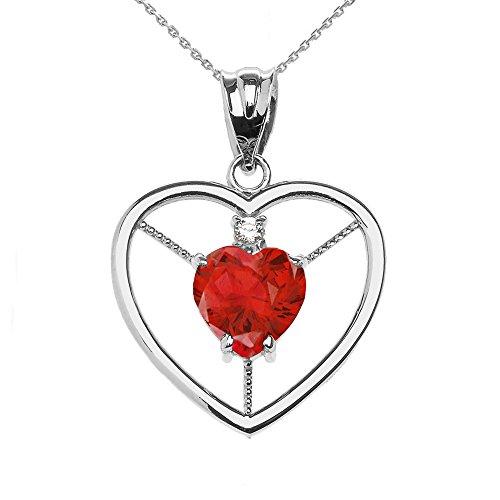 Collier Femme Pendentif Élégant 14 Ct Or Blanc Diamant et Juillet Pierre De Naissance Rouge Oxyde De Zirconium Cœur Solitaire (Livré avec une 45cm Chaîne)