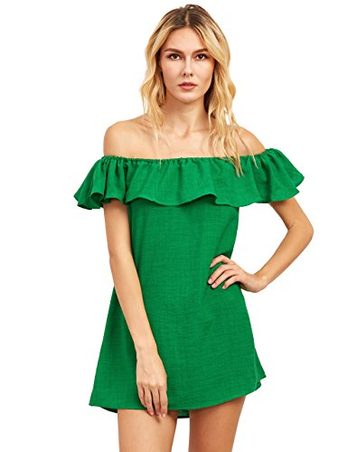 Dress Linen Strapless (Romwe Women's Off Shoulder Ruffles Mini Dress Green L)