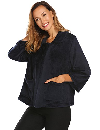 L'amore Ladies Soft Flannel Button Up Bed Jacket Cable Peter Pan Collar Navy Blue XL (Collar Pan Peter Jacket)