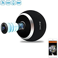 Baivei 960P IP Wireless WIFI Panoramic Fisheye Lens Camera 360 Degrees For Home Security System Pet Monitor&Baby Camera,Two Way Audio,Motion Detection,Night Vision(Black)