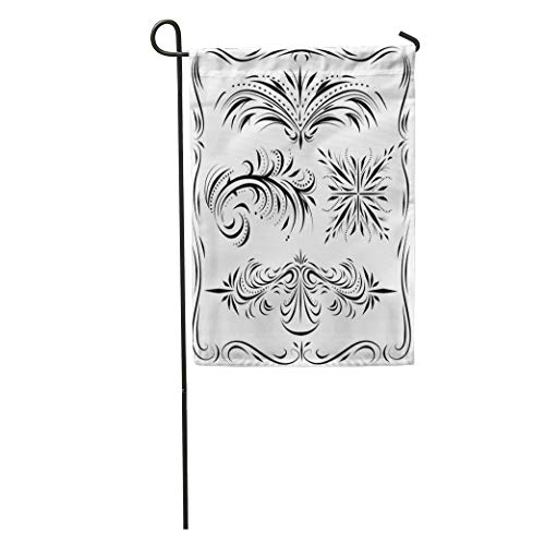 Semtomn Garden Flag Western Line Work and Flourish Border Filigree Scroll Sign Corner Home Yard House Decor Barnner Outdoor Stand 12x18 Inches ()
