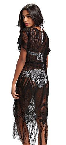 Costyleen Summer Womens Beach Wear Cover up Swimwear Bikini Lace Floral Long Maxi Beach Dress Black S(fits XS-S)