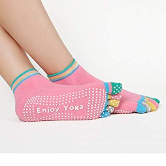 Amazon.com: CUSHY Funny Yoga Toe ock Women Cotton 5 Toe ...