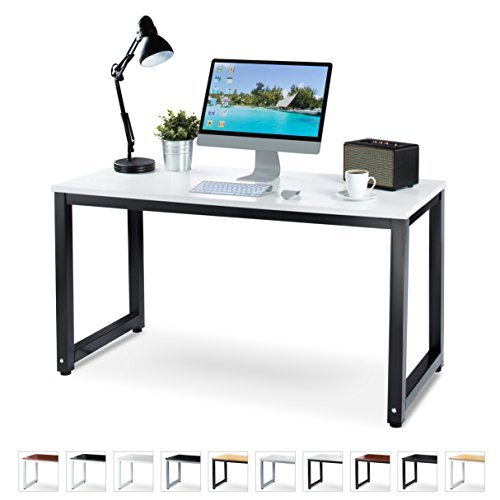 "Luxxetta Office Computer Desk – 55"" White Laminated Wooden Particleboard Table and Black Powder Coated Steel Frame - Work or Home – Easy Assembly - Tools and Instructions Included – by by Luxxetta"